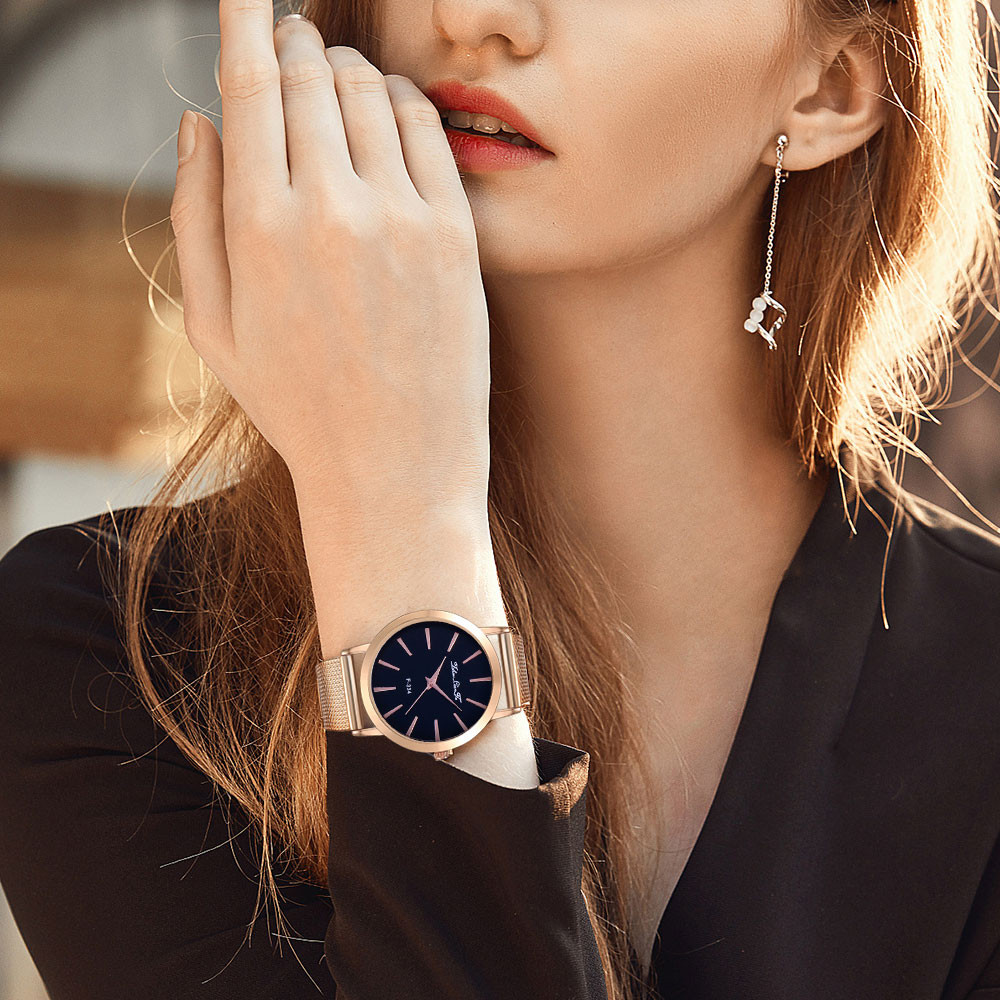 Lover's Watch Women Fashion Classic Luxury Leisure Auger Silicone Strap Stainless Steel Quartz Watch Correa de silicona reloj Fi