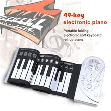 49 key speaker hand roll electronic piano portable folding soft keyboard up the