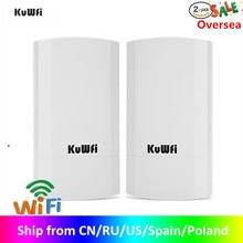 KuWfi Router 1KM 300 Мбит / с Беспроводной маршрутизатор Комплект для наружного и внутреннего монтажа CPE Беспроводной мост Поддержка повторителя Wi Fi WDS Long Range