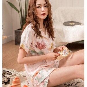 Image 3 - Conjunto de Pijamas cortos de primavera y verano para mujer, camisas de manga corta con pantalones, traje para casa, ropa femenina para mujer, pijamas sexis
