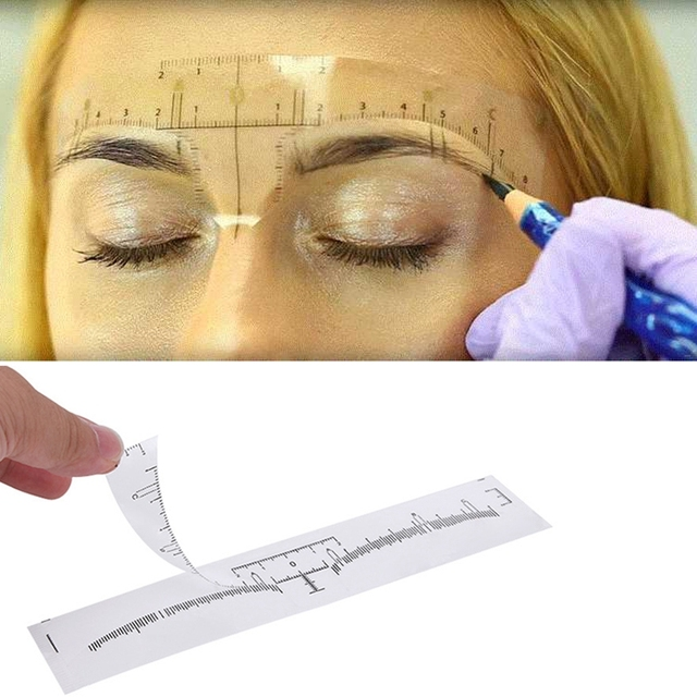 50pcs Reusable Semi Permanent Eyebrow Stencil Makeup Microblading Measure Tattoo Ruler Tools,Eyebrow Stencil