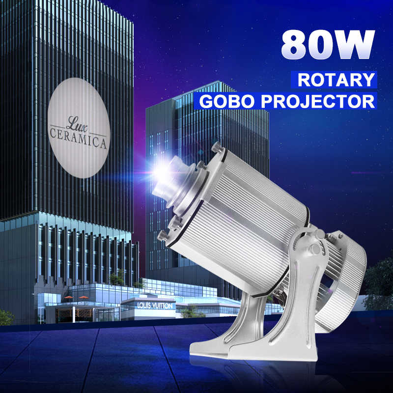 Rotating Glass 80W Outdoor LED Rotating Gobo Advertising Logo Projector Light