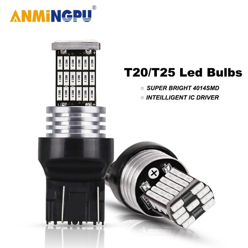 ANMINGPU 2x сигнальная лампа T20 светодиодный Canbus W21W 7440 7443 W21/5 Вт 4014SMD T25 светодиодный 3157 P27/7 Вт 3156 P27W стоп-сигналы Фары заднего хода