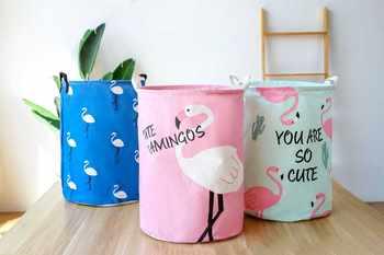 Pink Flamingo Folding Laundry Basket Large Storage Baskets Bin For Kids Toys Clothes Organizer Cute Animal Laundry Bucket Bag