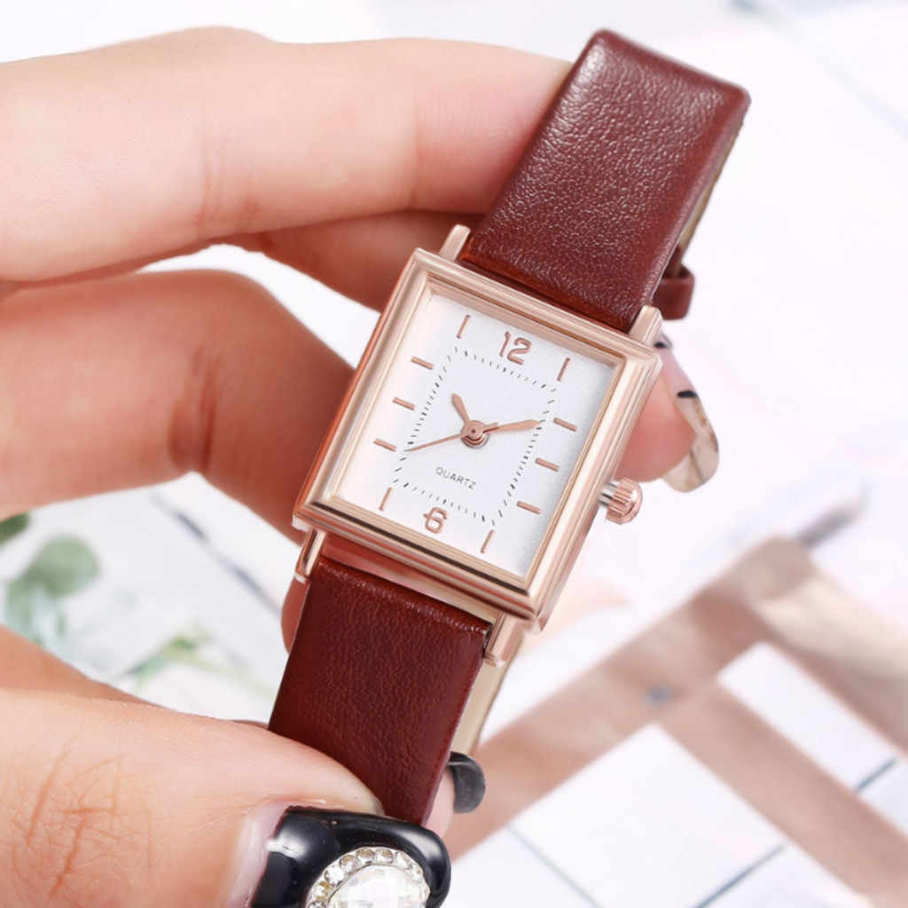 Fashion Square Women Watches Vintage Leather Belt Ladies Watch Simple Scale Quartz Wristwatch часы женские reloj mujer Gift /d
