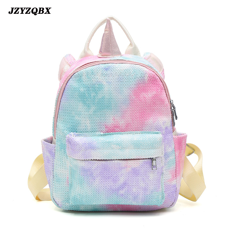 JZYZQBX Unicorn School Bag Candy Color Sequins Backpack Multi Pockets Children's Plecak School Backpack For Girls