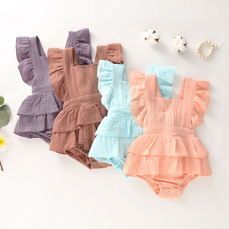NEW 2020 Newborn Baby Girl Clothes Ruffle Cotton Romper Sleeveless Bodysuit Jumpsuit Outfit Set