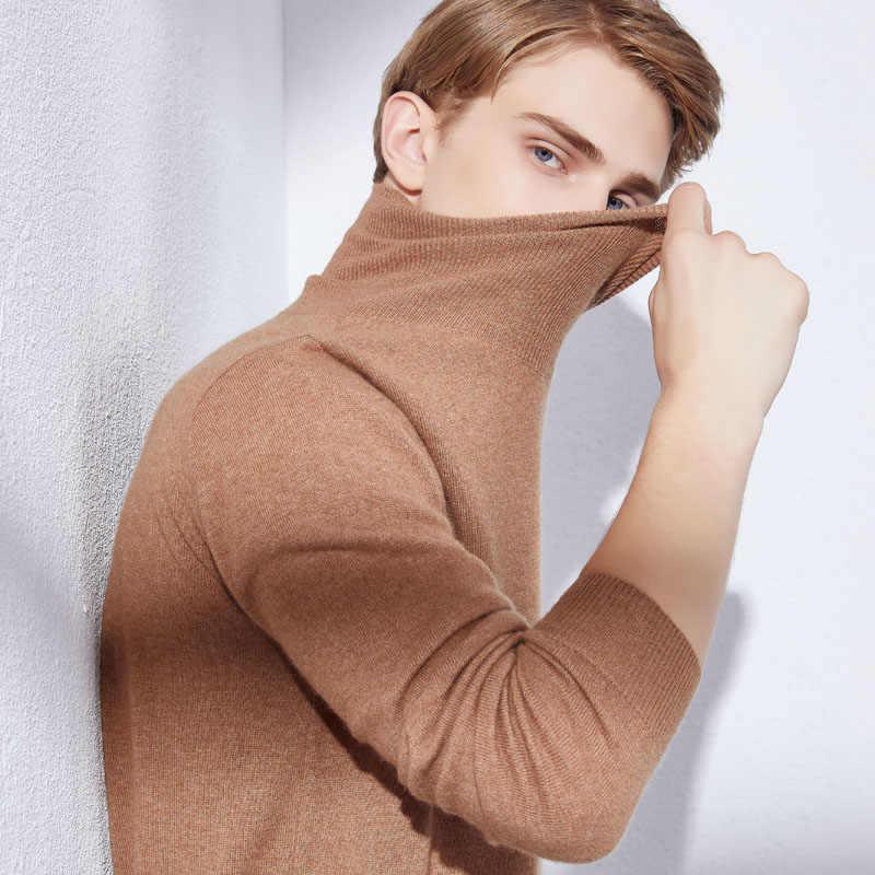 男セーター 100% パシュミナニットプルオーバー 2019 新到着 8 色タートルネック純粋なカシミヤジャンパー冬暖かい服トップス