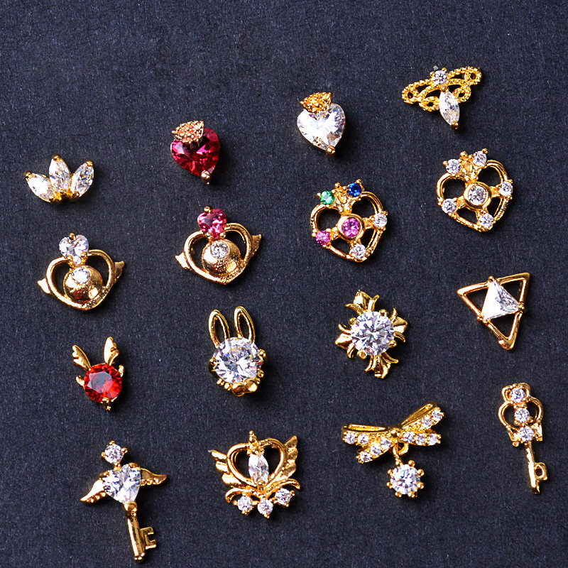 2pcs Sailor Moon Bow 3d Alloy Zircon Nail Art Decorations Supplies Crystals Rhinestones Gems Nails Accessories Jewelry Charms