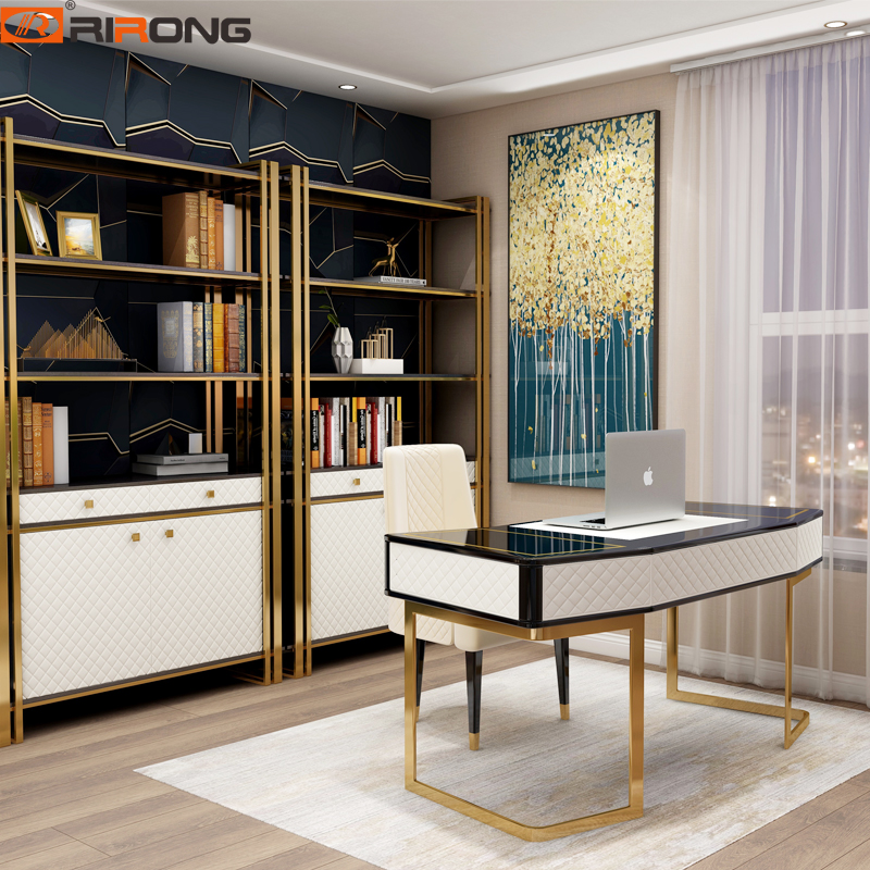 Modern White Black Gold 160cm Small Desktop Computer Desk Bedroom Study Table Simple Home Office Furniture