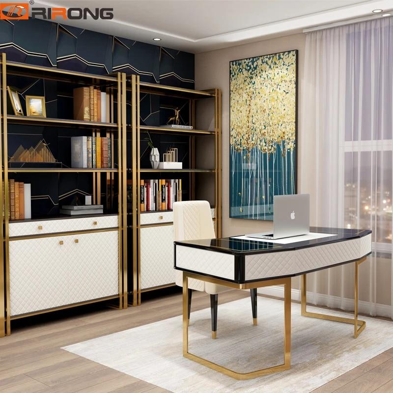 Modern White Black Gold Steel Leather 160cm Small Desktop Computer Desk Bedroom Study Table Simple Home Office Furniture Laptop Desks Aliexpress