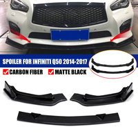 3Pcs Front Bumper Carbon Fiber/ Matte Black PP Chin Lip Spoiler Splitters Protection Trim For INFINITI Q50 2014 2015 2016 2017