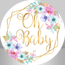 Flower Baby Shower Circle Round Backdrop Custom Kids 1st Birthday Party Decoration Photocall Candy Table Banner Background