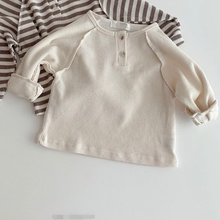 Boys Waffle Long-Sleeve Baby-Girls Infant Striped Tops T-Shirts Cotton Autumn Kids