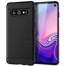 เคสโทรศัพท์สำหรับSamsung Galaxy S10 Plusคาร์บอนไฟเบอร์ซิลิโคนเส้นใยติดตั้งกันชนGalaxyS10 S10E Lite S 10e S10plus s10lite