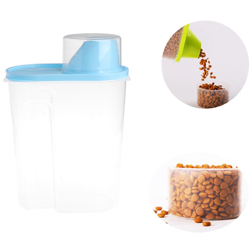 Plastic Pet Dog Cat Food Storage Container Dry Food Dispenser Puppy Feeder 4 Colors Sealed Cans Large Capacity For Food Storage