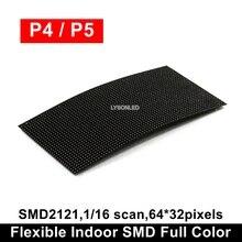 גמיש P4 P5 מקורה SMD מלא צבע LED מודול 64x32 פיקסלים הדיגיטלי עמודת סימן עגול פרסום וידאו באנרים פנל