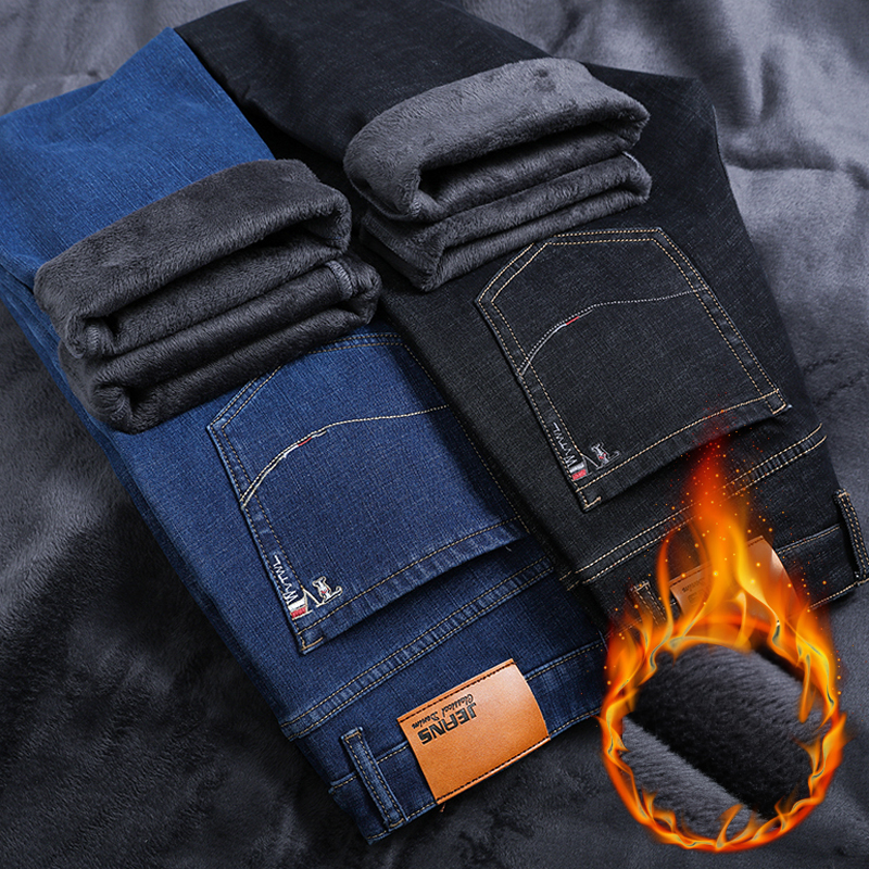 Classic Men Business Warm Thick Jeans 2019 Winter New  Fashion Casual Black Blue Elastic Fleece Brand Denim Trousers Male Pants