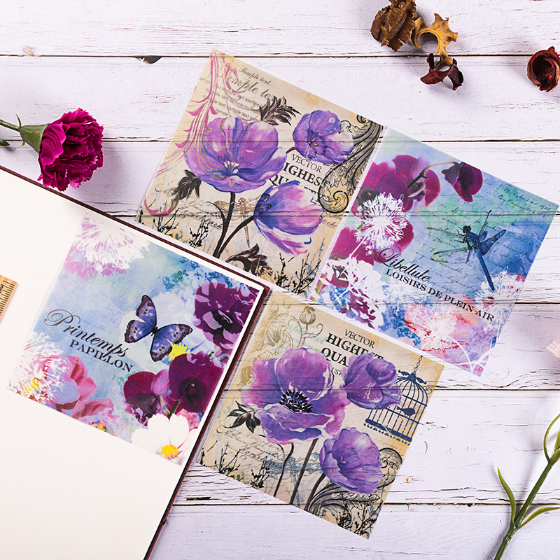 8pcs/Pack Retro Bird Flower Vellum Paper Pattern Pack For Scrapbooking Happy Planner Card Making Junk Journal Project