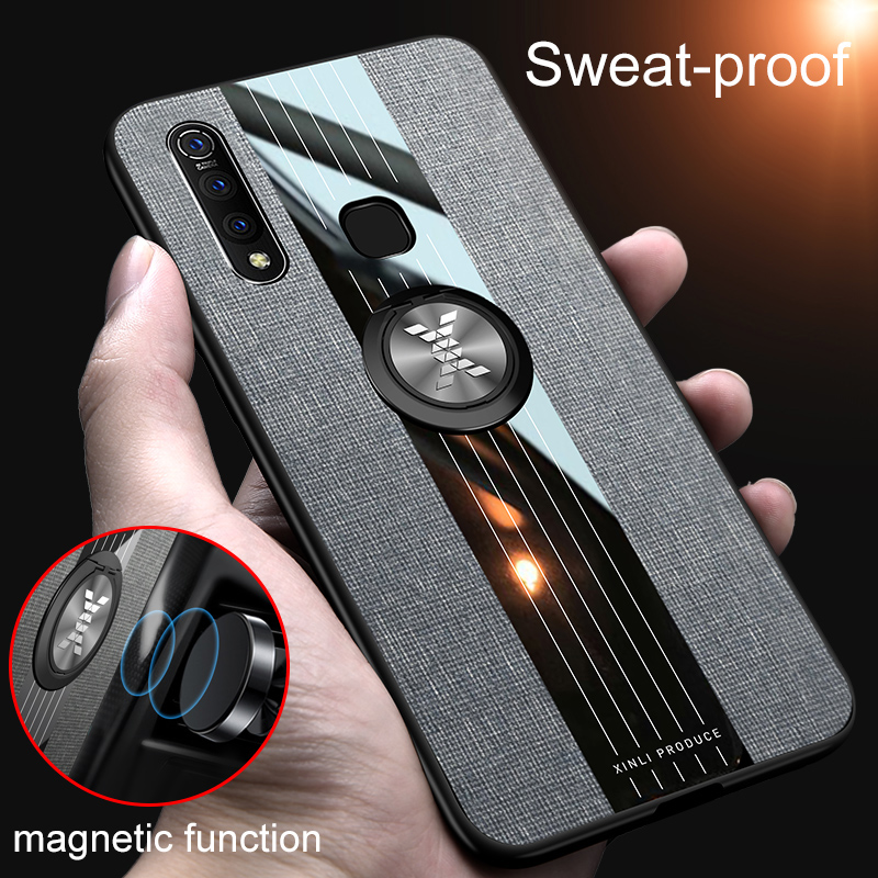 Magnetic Shockproof <font><b>Case</b></font> for <font><b>VIVO</b></font> Z5X <font><b>Z1</b></font> <font><b>Pro</b></font> Silicone TPU Phone Back Cover Cloth Stand Ring Holder Z5 X Z1Pro Protective Housing image