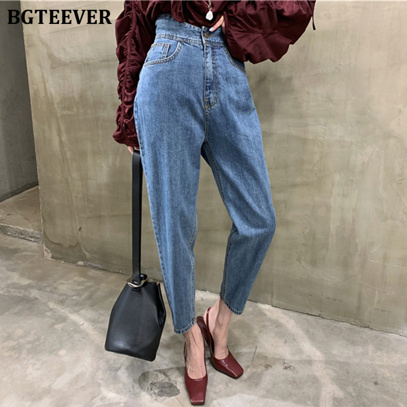 BGTEEVER Casual Denim Blue Women Jeans Slim Waist Harem Denim Pants 2020 Spring Summer Jeans Trousers Female Good Quality