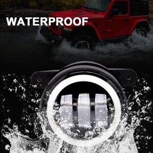 "Image 5 - Safego 1 쌍 50W 4 ""라운드 LED 안개등 헤일로 링 DRL 9005 헤드 라이트 안개등 오프로드 랭글러 JK TJ LJ 트럭 4x4 SUV ATV"