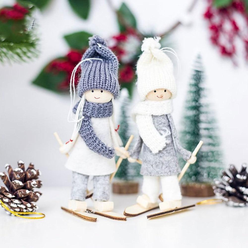 Christmas Tree Decorations Cute Angel Doll Girl Ski Pendant Wooden Navidad New Year Christmas Tree Ornaments Xmas Gift For Kids