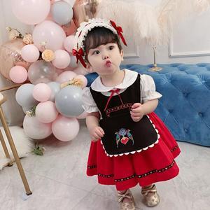 Платье принцессы в стиле «Лолита», платье с вышивкой и принтом для девочек, Y3084
