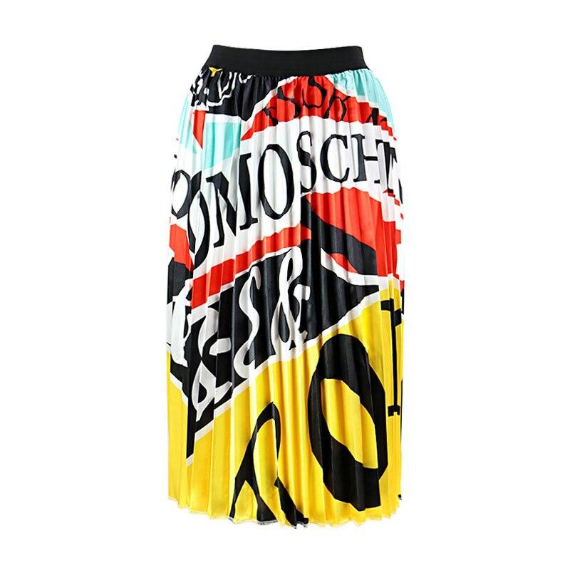 2020 Summer Newest Letter Print Long Skirt Women Irregular Stitching Color Skirt Lady High Waist Elastic A-Line Skirt ZQY832 39