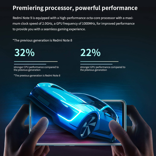 "Redmi Note 9 Global Version 3GB+64GB Xiaomi SmartPhone MTK Helio G85 Octa Core 48MP Quad Rear Camera 6.53"" 5020mAh 3"