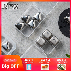 Creativity Cooler Natural Whisky Stones Sets Reusable Stainless Steel Ice Cubes Ice Tongs Chilling Rocks Wine Gifts Tool
