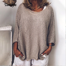 Taniafa 2019 New Autumn Hollow Out Knitted Women Fashion Casual Tops Loose Solid Color Pullover Knitwear Plus Size S~5XL
