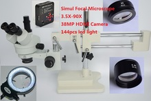 38MP HDMI CAMERA 3.5X-90X Microscope 50/50 Split Simul-Focal Microscope Double Boom Stand Trinocular Microscope+144LED