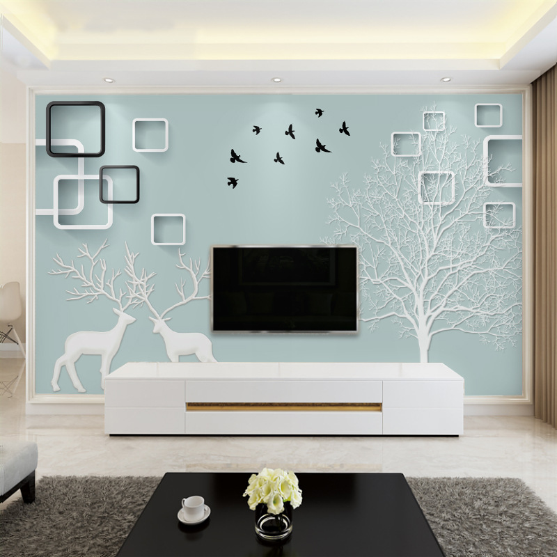 Television Decoration Wallpaper Mural Minimalist Modern Wall 8D Stereo Dormitory 3D Northern European-Style INS Style Cloth