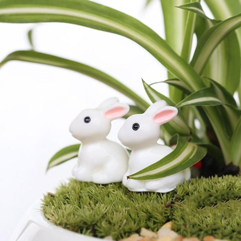 Mini Rabbit Garden Ornament Miniature Figurine Plant Pot Fairy Synthetic Resin Hand-painted Rabbit Decoration Kids Gift Easter