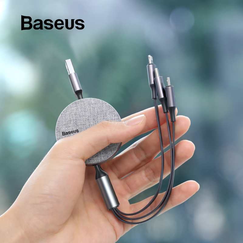 Baseus 3 in 1 Retractable USB Cable For iPhone Xs Max 3in1 Multi Fast Charging Charger Micro USB Type C Cable For Samsung Xiaomi|Mobile Phone Cables|   - AliExpress