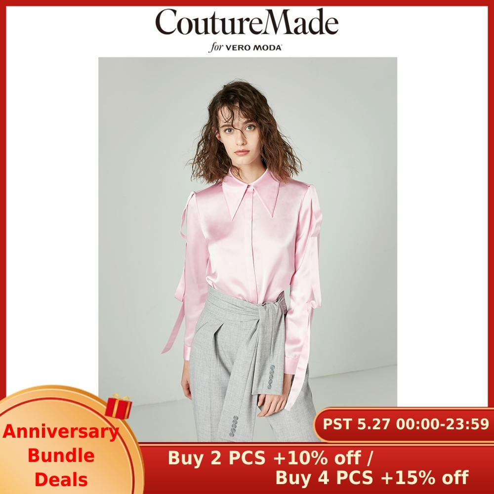 Vero Moda Women's CoutureMade Pointed Collar Ribbons Drapery Shirt | 318405513