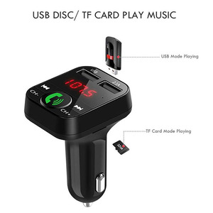 Image 3 - Rovtop דיבורית אלחוטי Bluetooth לרכב משדר FM TF כרטיס LCD MP3 נגן USB 2.1A רכב מטען טלפון מטען z2