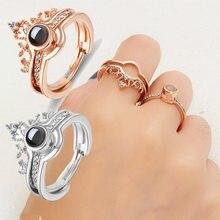 2 в 1 кольцо с короной, 100 языков, я люблю тебя, проекционное кольцо золотого цвета, Любовная память, пара колец, обручальные свадебные украшен...