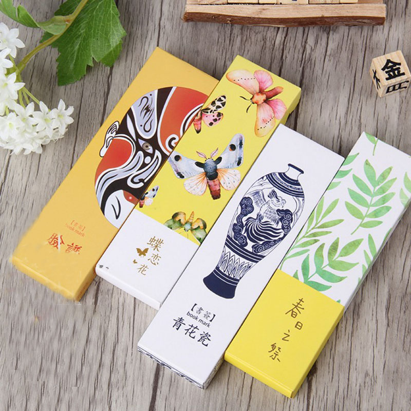 30Sheets/Pack Hot Sale China Style Bookmark Vase Butterfly Paper Bookmarks Lomo Cards Stationery School Supplie Papelaria
