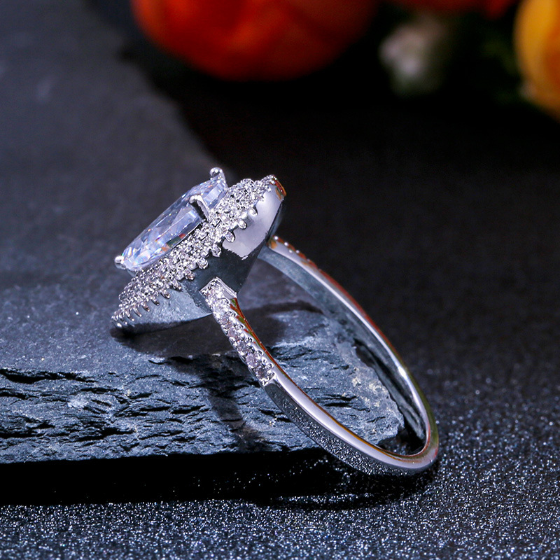 Diamond ring rose gold rings Crystal moissanite topaz Drop shape Lady ring Men 39 s accessories luxury jewelry rose gold B2767 in Rings from Jewelry amp Accessories