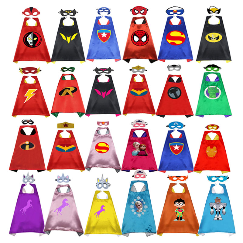 Girl Boy Cosplay Superheroes Capes  Masks For Kids Birthday Party Supplies Party Teen Halloween Costumes