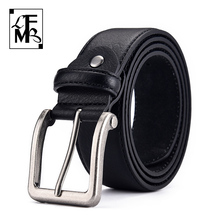 [LFMB]Men's Belt Cow Genuine Leather Pin Buckle Leather Belt High Quality New Fashion  Luxury Strap Male Belts