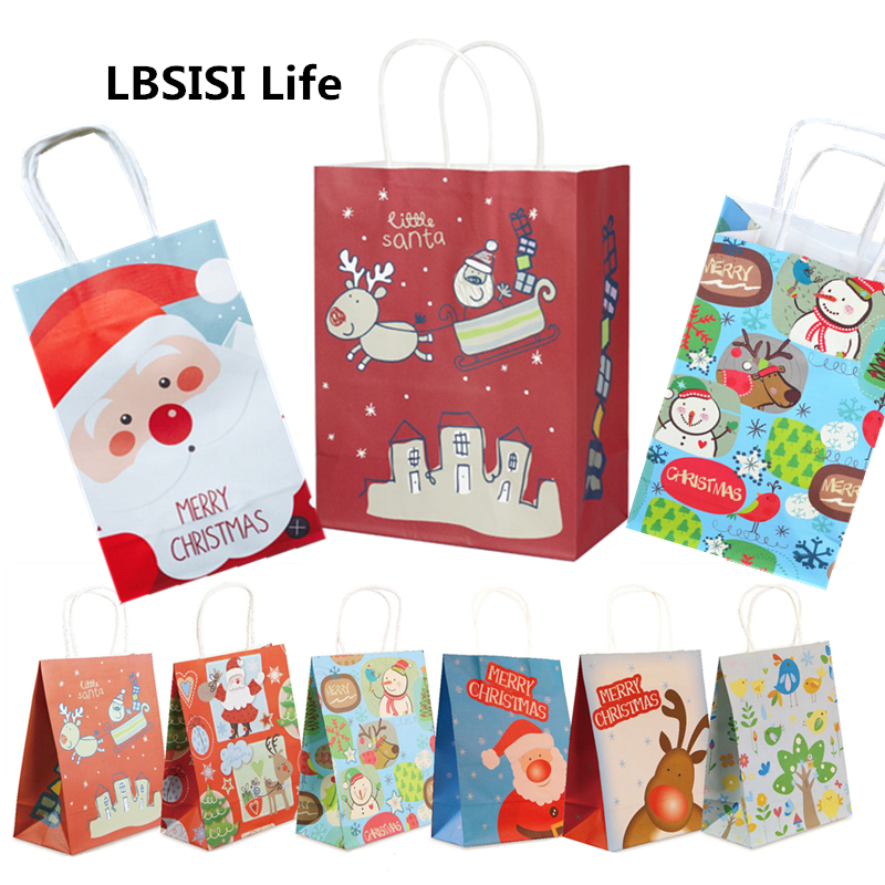 LBSISI Life 5pcs Christmas Paper Handle Gift Bags Cookie Food Candy Bag Packing Decoration Party Favor Bags