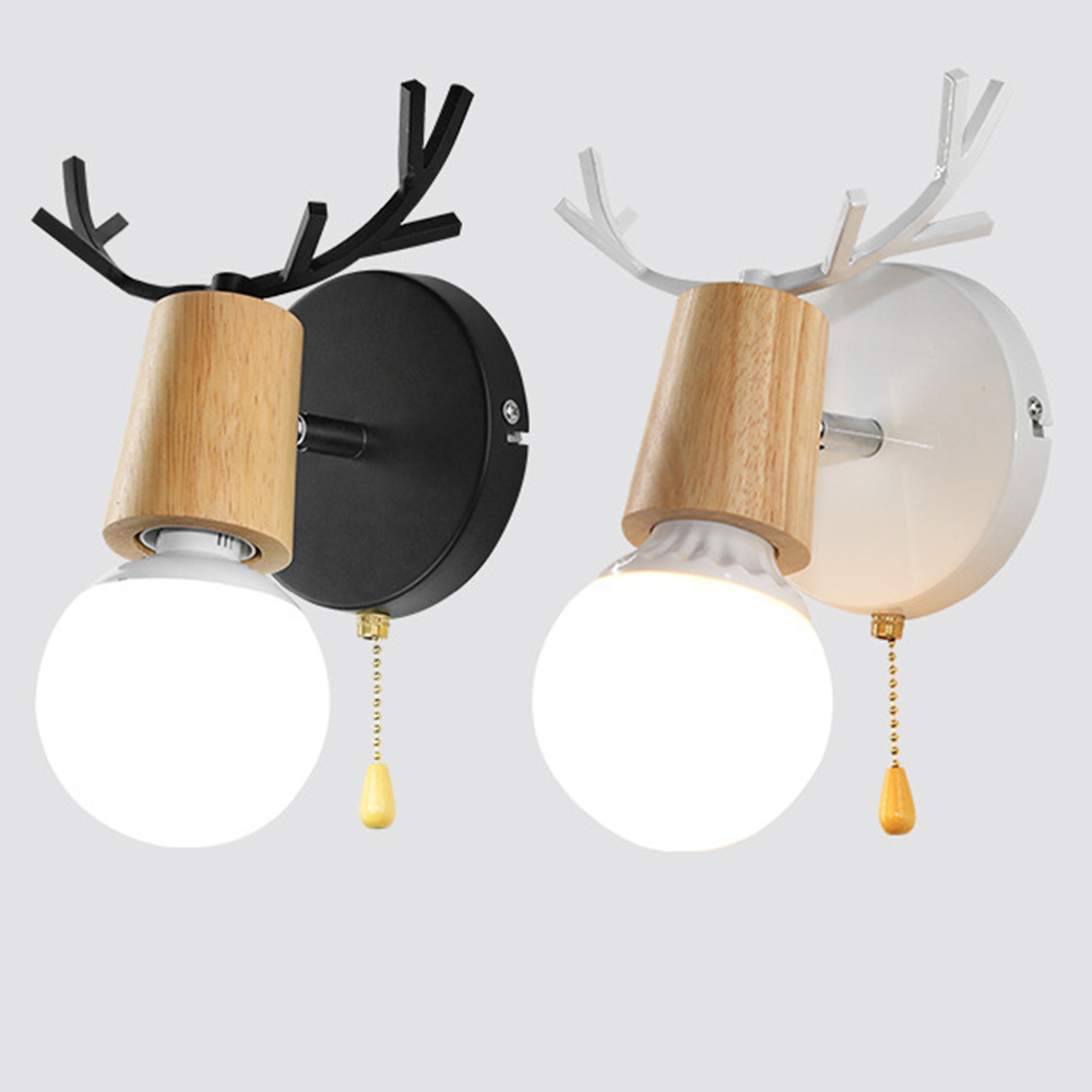 Nordic LED E27 Wall Lights colorful cartoon Deer Antlers Bedroom Reading Sconce Wall Mounted Children room Lighting