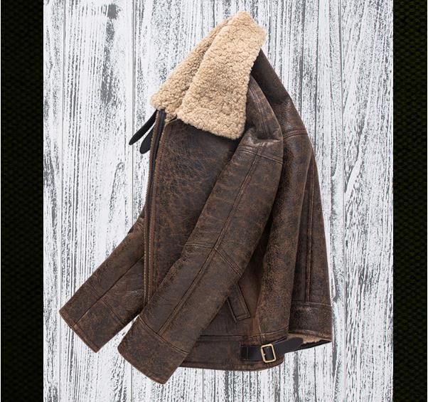 H3e58409ba8904b8d9c532cbc40d6f64bH Free shipping,Winter thick Genuine Sheepskin coat,B3 Wool Shearling,warm fur jacket,mens plus size genuine leather jackets.