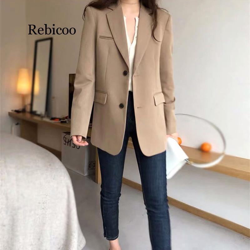 Rebicoo Spring New Fashion Blazer Jacket Women Casual Pockets Long Sleeve Work Suit Coat Office Lady Solid Slim Blazers