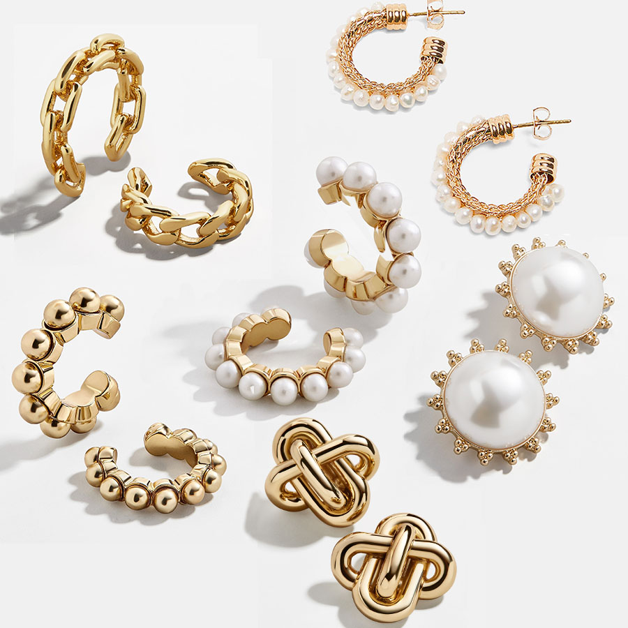 Girlgo Ba* Women Double-layer Pearl C-shaped Ear Clip Hoop Earring Simple Crystal Fashion Wedding Ear Jewelry Party Earring Gift