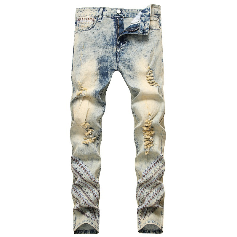 2020 AUTUMN Spring Men's Ripped Print Street HIP HOP Punk Stretch Bike Jeans Trendy Holes Straight Denim Trouers
