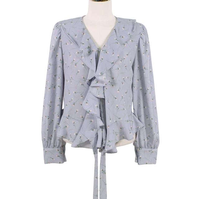 Blusas 2021 Spring Elegant Tops Blouse Women Long Sleeve Floral Chiffon Shirt Women Puff Sleeve Chic Office Lady Clothing 10249 5